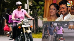 Suriya teaching Jyothika to ride a Bullet bike