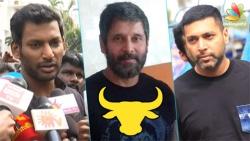 Real heroes are in Marina   Vikram, Vishal at Nadigar Sangam Protest