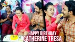 Catherine Tresa Gets a Birthday Surprise from VJ Koushik   Vishnu Vishal and Katha Nayagan Team