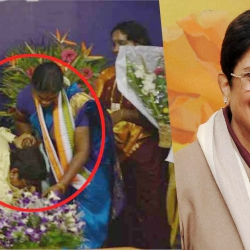 Kiran Bedi falls at the feet of Pondicherry MLA : Oath ceremony 2016